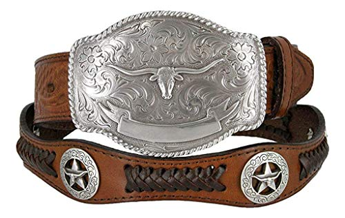 State of Texas Longhorn and Star Western Embossed Leather Belt (38, Brown) ()