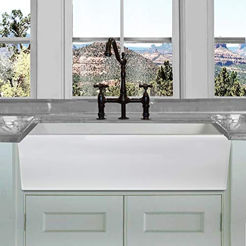 - HIGHPOINT COLLECTION 36-in Reversible Italian Fireclay Farmhouse Sink