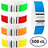 "Goldistock 3/4"" Tyvek Wristbands Rainbow 500 Ct. Variety Pack- 100 Each: Neon Blue, Green, Yellow, Orange, Red"