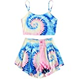Floerns Women's Tie Dye Sleeveless Crop Top and Shorts Two Piece Outfits Multi S