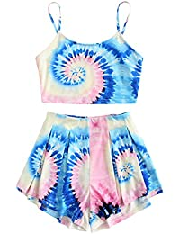 69d92867fd67 Women s Tie Dye Sleeveless Crop Top and Shorts Two Piece Outfits