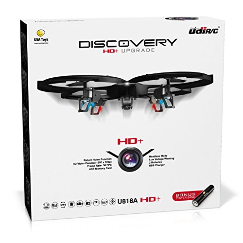 "Force1 Drones with Camera – ""UDI U818A Discovery"" Camera Drone with 720p HD RC Quadcopter Drone Camera w/Micro SD Card + Power Bank and Bonus Battery"