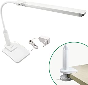Lampe de Table de Bureau a LED 5W Dimmable Tactile Fonctionnel Blanche a Pince et Base de Table et Tête de Lampe Rotatif Eclairage Blanc Froid 5000K