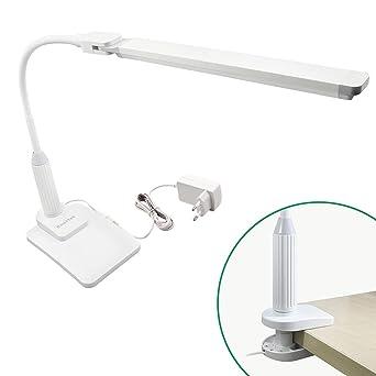 Lampara de Escritorio de Sobremesa Oficina LED 5W Regulable Tactil con Base de Pinza y Base