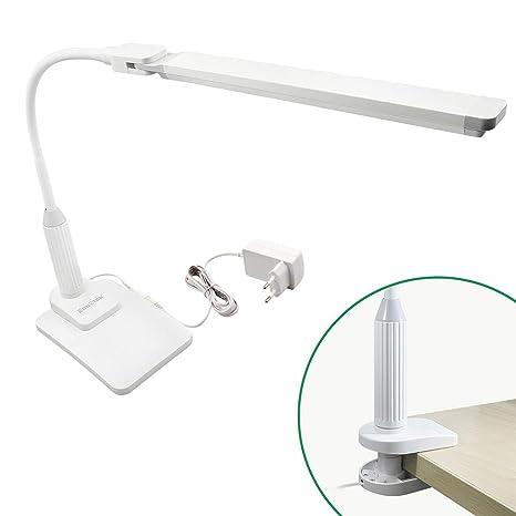 Lampara de Escritorio de Sobremesa Oficina LED 5W Regulable Tactil con Base de Pinza y Base de Escritorio Iluminacion Luz Fria Espesor de Pinza Max ...