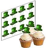 12 Santo Di patrick Fortunato Cappello Cupcake Picchetti per la st di Patrick Day 'Alzati' decorazioni torta carta di riso (non tagliati)