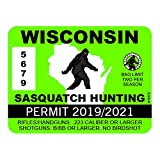 "RDW Wisconsin Sasquatch Hunting Permit - Color Sticker - Decal - Die Cut - Size: 4.00"" x 3.00"""