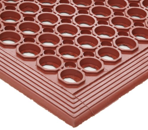 Crown WSTF35TC Safewalk Heavy-Duty Anti-Fatigue Drainage Mat, Grease-Proof, 36x60, Terra Cotta by Crown