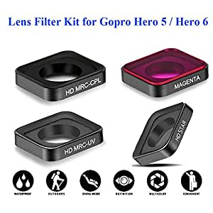QKOO 4 in1 Lens Filter Kit HD MRC-UV + MRC- CPL + HD Star + Full Color Magenta Filter Kit For GoPro Hero 5 / Hero 6 Diving Underwater Sea Dive Skiing Climbing Shoot etc Outdoor Sport