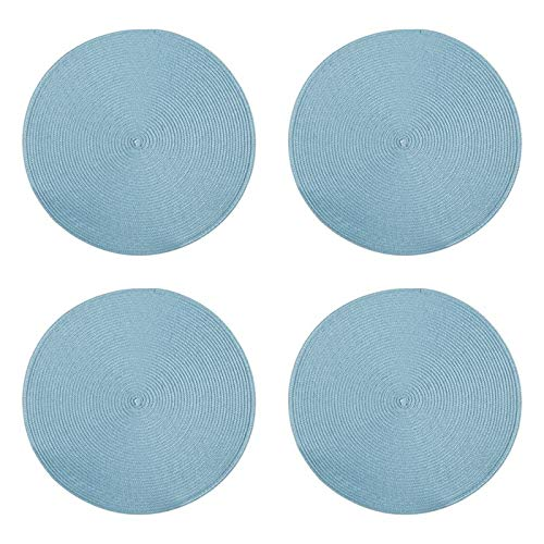 Northeast Home Goods Casual Round Textured Placemats, Set of 4 (Light Blue) (Light Blue Placemats)
