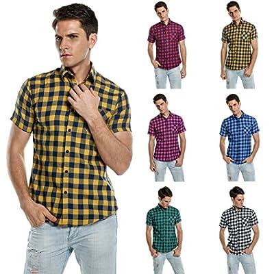 Bluetime Men's Short Sleeve T Shirts Casual Button Down Plaid Shirts
