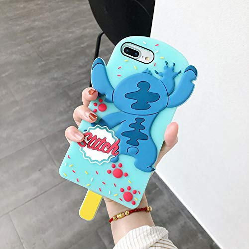Soft Silicone Blue Stitch Ice Pop Case for iPhone 7+ 7Plus 8Plus Large Size 3D Disney Cartoon Protective Cute Fun Cool Lovely Gift Little Girls Teens Kids Women
