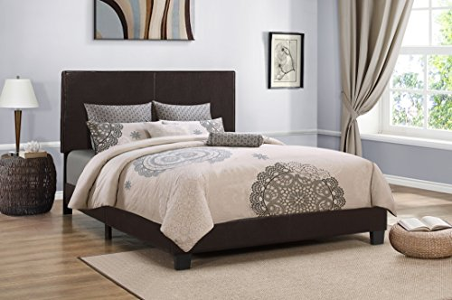 Furniture World Cody Contemporary Upholstered Bed, King, Brown Contemporary Upholstered Furniture