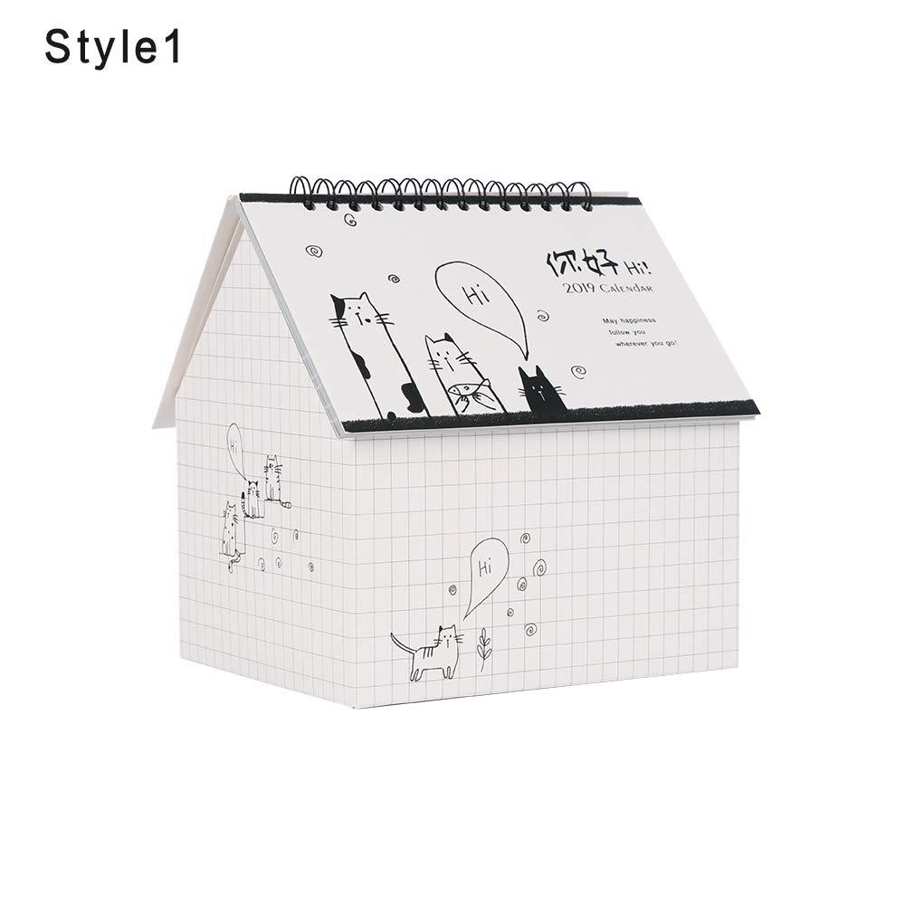 2019 - Calendario de escritorio plegable multifunción con planificador de horarios: Amazon.es: Belleza