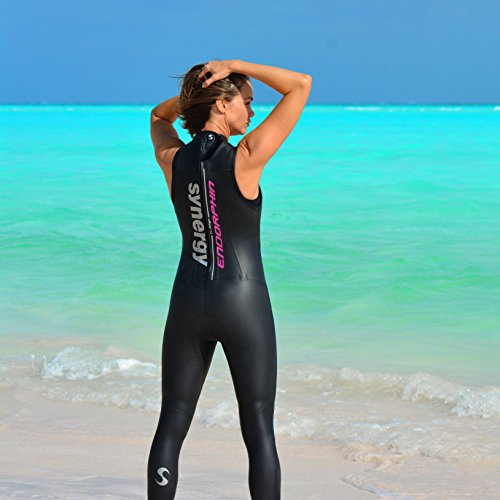 bc01583c8b3 Synergy Triathlon Wetsuit 5/3mm - Women's Endorphin Sleeveless Long John  Smoothskin Neoprene for Open Water Swimming Ironman Approved