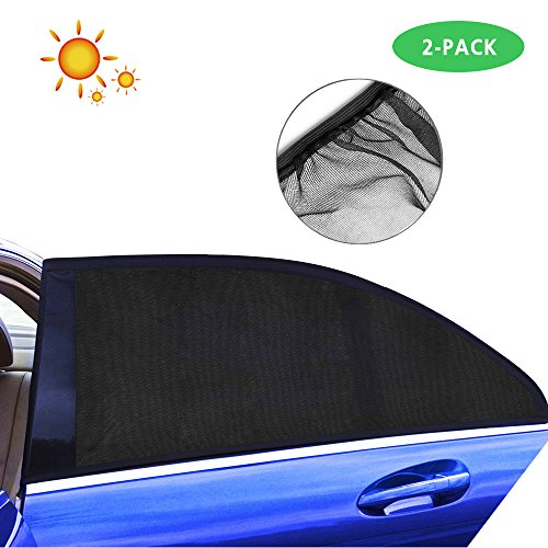 Lecone Car Side Window Shades Mesh, 2 Pack Universal Fit Rear Side Window Car Sun Shades for Baby Kids Pets to Block Sun Rays and Heat, Anti-Mosquito Breathable and (Line Double Layer Suit)