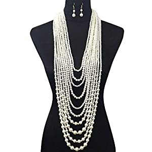 Fashion 21 Women's Ten Multi-Strand Simulated Pearl Statement Necklace and Earrings Set in Cream Color
