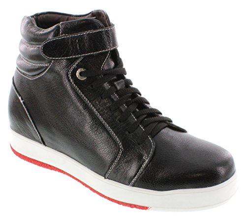 calto–g71806–7,6cm Grande Taille–Hauteur Augmenter Chaussures ascenseur (Noir Montantes Sneakers)
