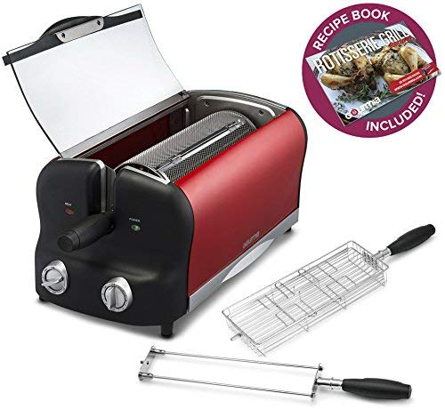 Gourmia GEO3000 Rotisserie Oven & Grill, Classic Dual Rod Spit, Flat Chicken & Steak Basket, Stir Fry Basket, Bonus Accessories & Free Recipe Book