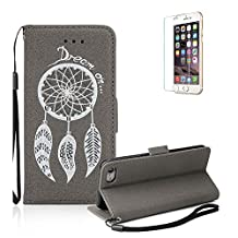 iPhone 6S Case.iPhone 6 Wallet Case .Funyye Retro Emboss Fashion Dream Catcher PU Leder Wallet with Card Holder Slots Stand Protective Case for iPhone 6/6S (4.7 Inch) -Gray