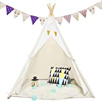Sisticker Teepee Tent for Kids with Floor Mat+Feathers+ Bunting+Carry Bag- Kids Gifts for Girls and Boys Children Toys…