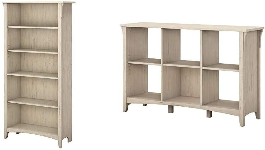 Bush Furniture Salinas 5 Shelf Bookcase in Antique White & Salinas 6 Cube Organizer in Antique White