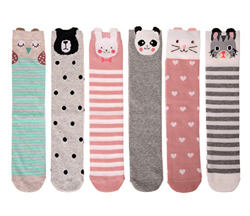 Color City Kids Girls Socks Knee High Stockings Cartoon Animal Theme Cotton Socks (6 Pairs) by Color City (Image #2)