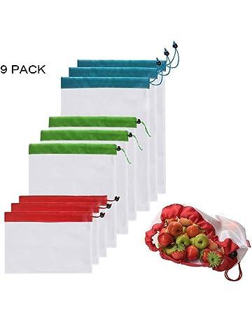 d75f0c062 Leenou Bolsas Compra Reutilizables Ecológicas Bolsa de Malla para  Almacenamiento Fruta Verduras Juguetes Lavable y Transpirable