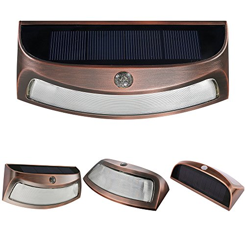 Powerful Solar Smile Shape Quality Decorator LED Deck/Walll Light With Copper Look Case Design Ideal For Deck, Path, Stairs, Garden(a pack|Warm White) (Warm White) by POWERFUL ELECTRONICS