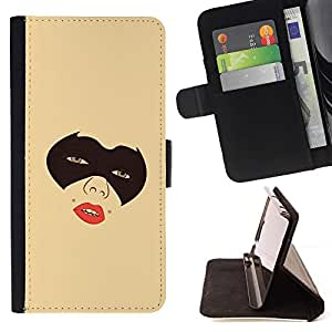 DEVIL CASE - FOR Samsung Galaxy S3 Mini I8190Samsung Galaxy S3 Mini I8190 - Masked Girl - Style PU Leather Case Wallet Flip Stand Flap Closure Cover