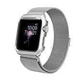 Apple Watch Band 42mm, Anmerk Mesh Milanese Loop with Case Stainless Steel Replacement Wrist Band iWatch Strap with Magnet Clasp for Apple Watch Series 1/2/3 Sport Edition (Silver, 42mm)