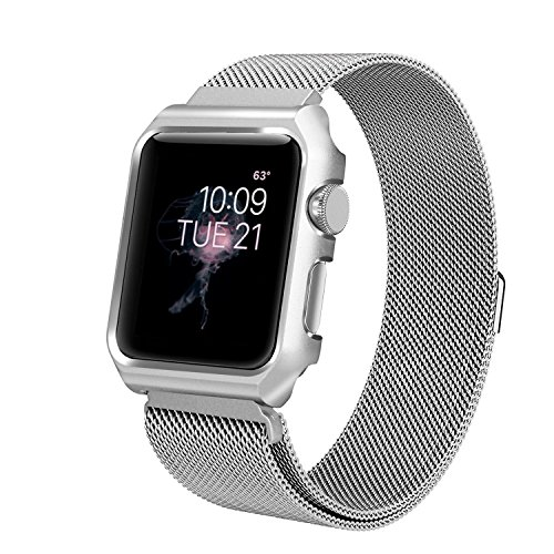 Apple Watch Band 42mm, Anmerk Mesh Milanese Loop with Case Stainless Steel Replacement Wrist Band iWatch Strap with Magnet Clasp for Apple Watch Series 1/2/3 Sport Edition (Silver, 42mm) by Anmerk