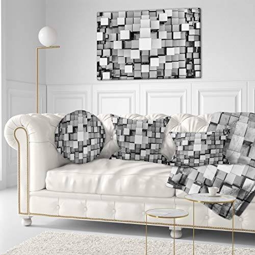 Black and Grey Cubes Contemporary Canvas Art Print