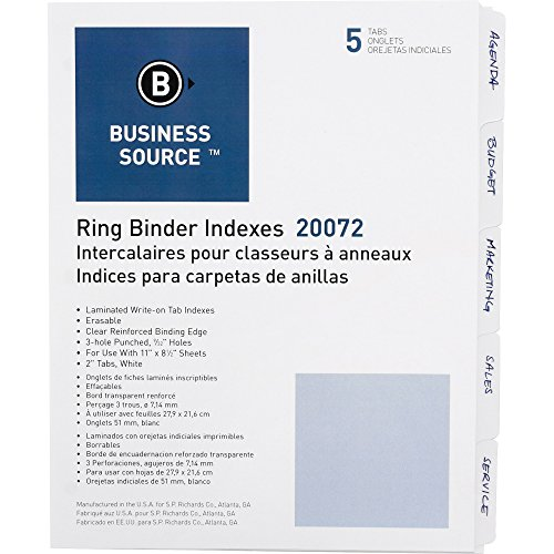 3 Ring Index 5 Tab - Business Source 3-Ring Plain Index Divider - Set of 5 Tabs - White (Package May vary)