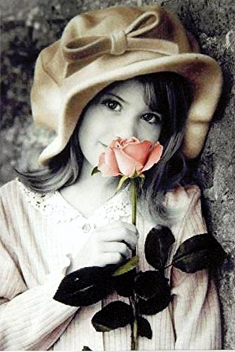 Buyartforless Girl with Rose by Kim Anderson 36.5x24.5 Photograph Cute Kids with Flowers Romantic Romance Poster, Print, Decorative Accent, Wall Art Multi-Color