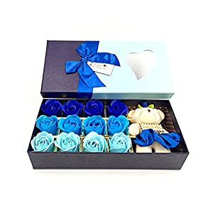 "Kinteshun Bath Soap Rose Flower,Flora Scented Rose Petal Bouquet Gift Box With ""I Love You"" Little Bear Doll(Blue,12pcs Rose) 51"
