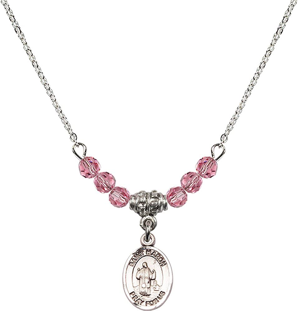 18-Inch Rhodium Plated Necklace with 4mm Rose Birthstone Beads and Sterling Silver Saint Maron Charm.
