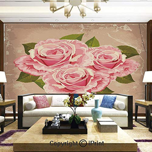 Lionpapa_mural Removable Wall Mural Ideal to Decorate Your Living Room,Pink Bouquet of Roses Retro Design Nature Love Romance Theme Grunge Display Decorative,Home Decor - 100x144 inches