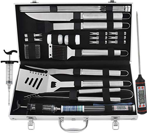 grilljoy 24PCS Heavy Duty BBQ Grill Tools Set with Thermometer and Meat Injector. Extra Thick Stainless Steel Spatula, Fork, Tongs Cleaning Brush. Complete Grilling Accessories in Aluminum Case.