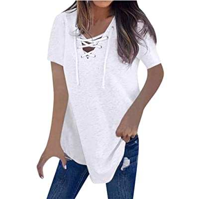BEAUTYVAN Women's Summer Lace Up Tunic Tops Casual V Neck Short Sleeve Loose Fit T Shirt Blouse: Shoes