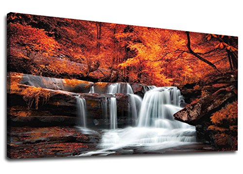 Autumn Waterfall - yearainn Canvas Wall Art Waterfall Red Trees Forest Panoramic Autumn Forest Stream River Scenery Painting - Long Canvas Artwork Contemporary Nature Picture for Home Office Wall Decor 20