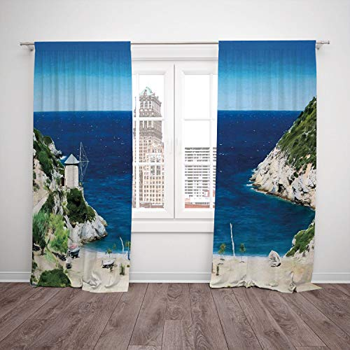 (Thermal Insulated Blackout Window Curtain,Beach,Rocky Sandy Cove North of The Old Town Alonissos Calm Seascape Idyllic Scenery,Blue White Green,Living Room Bedroom Kitchen Cafe Window Drapes 2 Panel S)