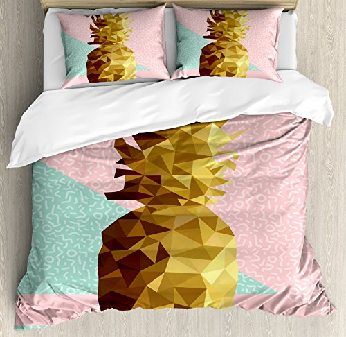 Indie Queen Size Duvet Cover Set by Ambesonne, Retro Summer Concept Pineapple Fruit in Poly Design Memphis, Decorative 3 Piece Bedding Set with 2 Pillow Shams, Light Pink Mint Green Light Brown