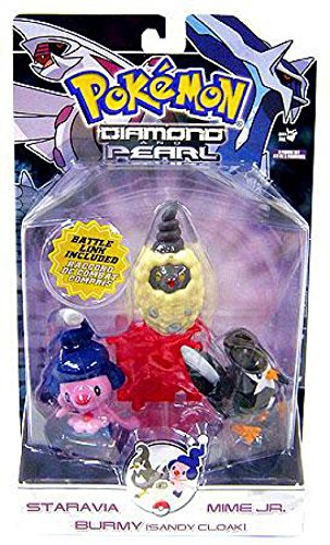 Pokemon Diamond and Pearl Series 7 Basic Figure 3-Pack Staravia, Mime Jr. and Burmy (Sandy Cloak)