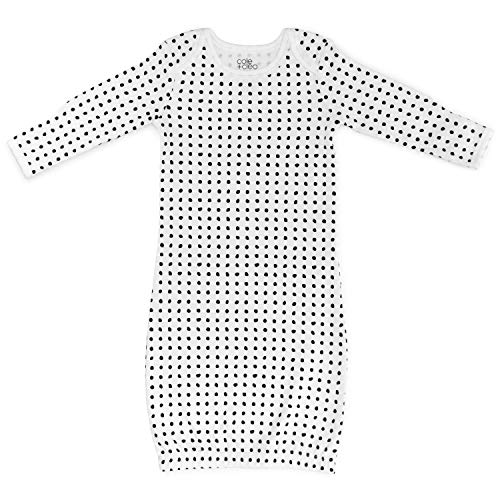 Cole + Cleo Organic Baby Sleep Gown GOTS Certified Organic Cotton Sleep Sack (0-6 Months, Black/White)