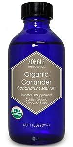 Zongle USDA Certified Organic Coriander Essential Oil, Safe To Ingest, Coriandrum Sativum, 1 OZ