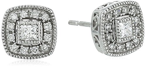 Cut Diamond Square Post Earrings - 14k White Gold cushion shaped Stud Earrings (1/3cttw)