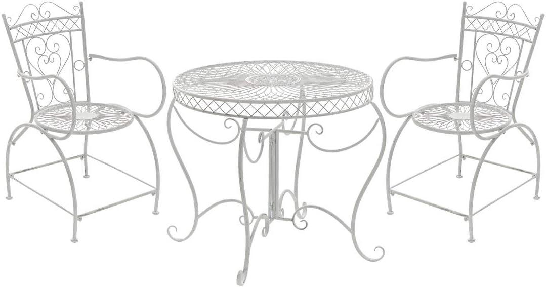 Conjunto de Muebles de Jardín Sheela I Set de 2 Sillas & 1 Mesa de Hierro I Juego de Muebles de Exterior en Estilo Rústico I Color:, Color:Blanco Envejecido