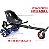 "Hoverkart Seat attachment for hoverboard or self balance scooter. Heavy duty frame with universal attachments for 6.5"", 8"" 10"" wheel. All black color"