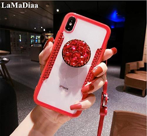 Diamond Shell Yellow - 1 piece LaMaDiaa 2018 Hot Selling Luxury Fashion Airbag Diamond Bracket Lanyard Phone Cases For iPhone X 8 7 6 6SPlus Back Cover Capa